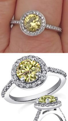 Yellow Diamond Halo Ring, Perfection in a ring! Jewelry Box, Jewelery, Jewelry Accessories, Jewelry Design, Diamond Gemstone, Halo Diamond, Diamond Jewelry, Diamond Are A Girls Best Friend, White Gold Diamonds