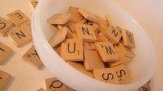 Vintage 1989 Scrabble Letter Wood Tiles 100 Complete Alphabet. $18.00, via Etsy.