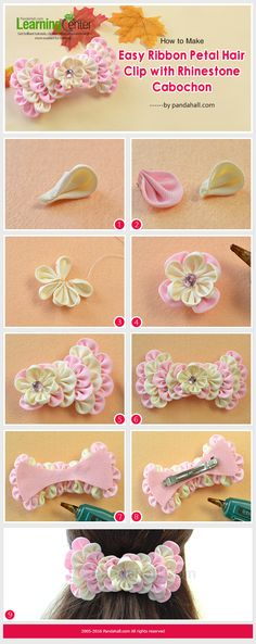 How to Make Easy Ribbon Petal Hair Clip with Rhinestone Cabochon from LC.Pandahall.com