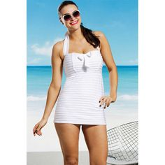 c4948be0f1c Seashell Tie Front Swimdress - swimsuitsforall   49.98 Curvy Swimwear