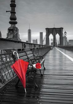 An elegant red umbrella resting on a bench, between afternoon showers on the iconic Brooklyn Bridge. Splash Photography, Black And White Photography, Black White Red, Black White Photos, Color Splash, Color Pop, Colour, Beautiful Places, Beautiful Pictures