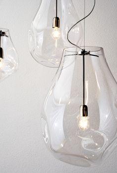 Organic mouthblown Murano glass by Neweba. Industrial Lighting, Cool Lighting, Lighting Design, Interior Lighting, Lighting Ideas, Lighting Stores, Glass Pendant Light, Glass Pendants, Pendant Lighting