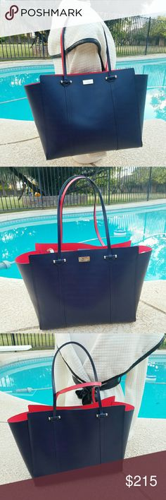 Kate spade leather tote I love this bag. Pretty good condition kate spade genuine smooth leather with matching trim. Magnetic snap strap closure. It has very small pen mark on the interior and little scratch on the front kate spade emblem.Navy blue. It looks brand new. kate spade Bags Totes