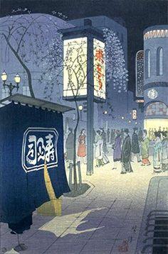 "Japanese Art Print ""Spring Night at Ginza"" by Kasamatsu Shiro. Shin Hanga and Art Reproductions http://www.amazon.com/dp/B012IBEEGE/ref=cm_sw_r_pi_dp_ojxswb0WF27FE"