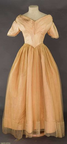 Satin and tulle ballgown, in what was once blush pink, c. 1840 | Augusta Auctions