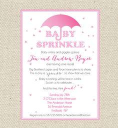 "Baby ""Sprinkles"" Pink Baby Sprinkle / Baby Shower Invitation Printable"