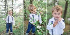 Boys in suspenders! Such a fun Spring Family Shoot! We loved this cherry blossom tree!