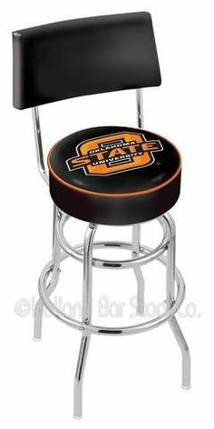 """Oklahoma State University Swivel Bar Stool With Back by Holland Bar Stool. $119.99. Swivel Bar Stool With Back. Unisex Adults. Commercial Grade Vinyl. Please Select Seat Height From The Drop Down. Officially Licensed Oklahoma State Cowboys Swivel Bar Stool With Back. Oklahoma State Cowboys metal swivel bar stool with back. Seat boasts a 15"""" diameter, commercial grade vinyl 4"""" cushion with silk screened logo. The silk screening process uses specially formulated vinyl paint..."""
