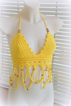 Yellow halter top beautiful crochet top by SexyCrochetByOlga
