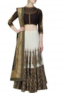 Ivory and gold embroidered panel lehanga with black twin set blouse and black embellished dupatta