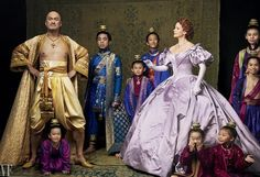 The stars of The King and I: Ken Watanabe as King Mongkut of Siam and Kelli O'Hara as Anna Leonowens, surrounded by young actors playing the king's children; photographed in New York City. Photograph by Annie Leibovitz for Vanity Fair March 2015.