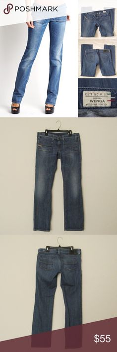 "Diesel Wenga ITALY 0081G Straight Leg Jeans DIESEL Wenga Wash 0081G Stretch Straight Leg Low Rise Jeans . Size 28. Very Good condition. Worn a few times. Made in Italy. Materials: 98% Cotton/ 2% Elastane Actual Measurements (laying flat): • Waist - 32"" around • Hips - 17.5"" • Rise - 7.5"" front/ 12"" back • Inseam - 30""  • Length - 37""  • Cuff - 7.5""  ~❌SWAP❌TRADE ~ ✔️❤️Bundles📦💕 ~✔️Smoke-free/pet-free home Diesel Jeans Straight Leg"