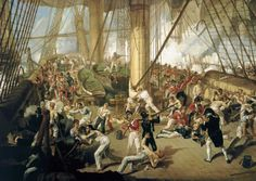 Fall of Nelson. Battle of Trafalgar 1805