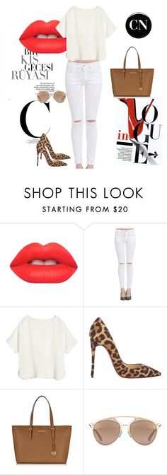 """All white"" by cielonewton on Polyvore featuring moda, Lime Crime, H&M, Christian Louboutin, Michael Kors, Christian Dior y Deborah Lippmann"