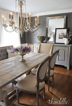 Elegant dining room with both traditional and rustic elements. Labor Junction / Home Improvement / House Projects / Dining Room / Rustic / House Remodels / http://www.laborjunction.com