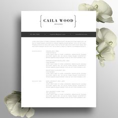 Modern Professional Resume Template / CV Template + Cover Letter, US Letter, A4, MS Word, Simple Resume Design, Instant Download, Caila