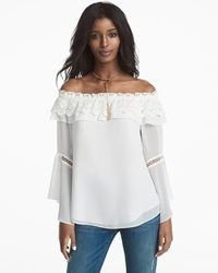 Off-The-Shoulder Crochet Trim Blouse