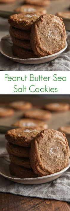 Gluten-free Peanut Butter Sea Salt Cookies - Made with just five ingredients, these sweet, flourless peanut butter cookies have a slightly chewy center, topped with a hint of sea salt. Easy Cookie Recipes, Cookie Desserts, Just Desserts, Baking Recipes, Delicious Desserts, Dessert Recipes, Reese's Recipes, Brownie Recipes, Cupcake Recipes