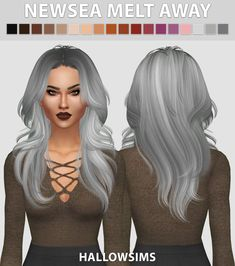 Hallow Sims: Newsea`s Melt Away hair retextured  - Sims 4 Hairs - http://sims4hairs.com/hallow-sims-newseas-melt-away-hair-retextured/