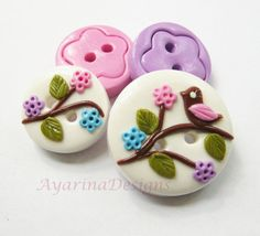 Loveliness polymer clay handmade buttons set of 4 by ayarina, $7.99
