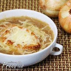 Sopa de cebola francesa na pressão - Gente essa sopa é divina! Sempre gostei mas dá um mega trabalho da maneira convencional, então desenvolvi essa versão super prática e rápid...