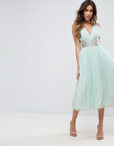 ASOS PREMIUM Tulle Midi Prom Dress With Embellished Ribbon Ties