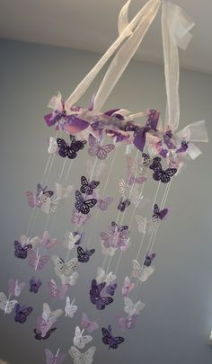 Butterfly Nursery Mobile - Purple, lavender, and white crib mobile