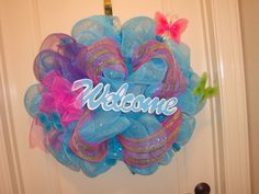 Deco Mesh Wreath  Welcome by InfiniteCreationsByR on Etsy, $75.00