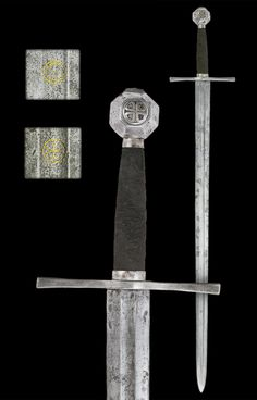 "A German Medieval Sword, second half of the 14th century The pommel gold and silver inlaid with an order cross on both sides. The blade inlaid with a cross in a circle (Maltese/St. John's Order of Knights) and an ""S"" in a circle at the back side. Overall length: 115.5 cm (45.5""); Blade length: 93.7 cm (36.9"") Located at Reichsstadtmuseum Rothenburg, Germany"