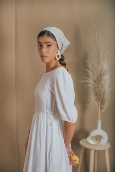 Blouse Vintage, Vintage Dresses, White Dress Summer, Summer Dresses, Ankara Gown Styles, White Linen Dresses, Scarf Hairstyles, Tie Dress, Boho Wedding Dress