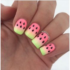 Ombre Watermelon Nails ❤ liked on Polyvore featuring beauty products, nail care, nail treatments and nail