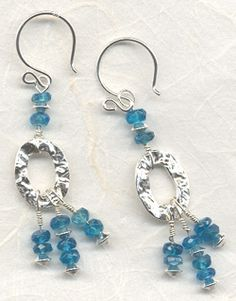 'Brilliant Blue' Apatite and Hammered Ring Earrings    Designer: Beaded Impressions