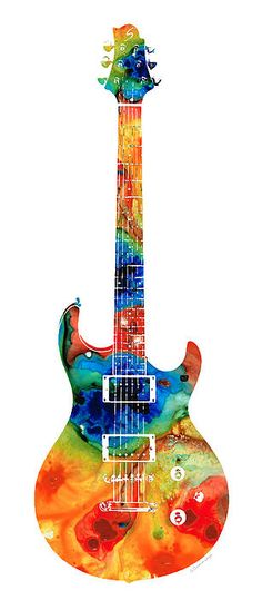 Colorful Electric Guitar 2 - Abstract Art By Sharon Cummings   Artist  Sharon Cummings   Medium  Painting - Acrylic On Canvas