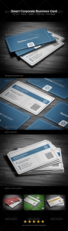 Smart Corporate Business Card  #GraphicRiver         Smart Corporate Business Card comes with a high detailed texture background (normal background is included as well), and can be used for almost any kind of company, or even personal use.   The card comes in four different color versions (blue, red, green & orange). However unlimited color variations can be made.   All text layers can be changed with one click. Colors can be adjusted by using the Hue/Saturation layer or using the Color…