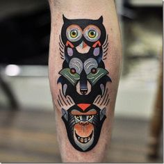 Owl, wolf, and monkey totem tattoo inked on the right calf Best Leg Tattoos, Leg Tattoos Women, Best Friend Tattoos, Foot Tattoos, Calf Tattoos, Totem Tattoo, Tattoo Art, Los Mejores Tattoos, Tattoos For Guys Badass