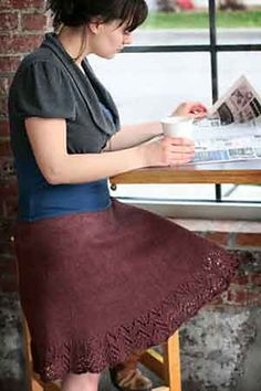 Flouncy skirt knitting pattern- Could I pull off knitting a skirt, let alone WEARING one?