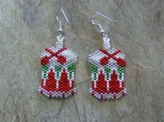 Drum Earrings Hand Made Seed Beaded by wolflady on Etsy