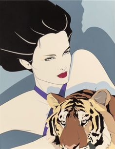 Illustration by Patrick Nagel (1945-1984), The Tigress, Acrylic on board. #1980s #Fashion & #Style.