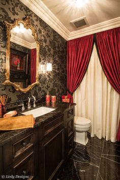 red Bathroom Decor Gorgeous powder room, bathroom interior design ideas and decor. Gothic Bathroom, Brown Bathroom Decor, Bathroom Red, Bath Decor, Small Bathroom, Red Bathrooms, Bathroom Ideas, Bathroom Plants, Bathroom Flowers