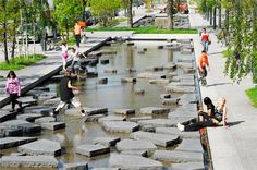 Buro Sant en Co - Roombeek: Stepping stones across shallow water