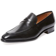 Romano Martegani Men's Penny Loafer - Black, Size 10 ($349) ❤ liked on Polyvore featuring men's fashion, men's shoes, men's loafers, black, mens leather loafer shoes, mens shoes, mens leather loafers, mens black loafers and mens black loafers shoes