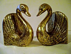 Vintage Brass Swan Bookends by SandysLeaf on Etsy, $40.00