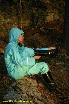 Green Raincoat, Rain Wear, Rain Boots, Rain Jacket, Overalls, Windbreaker, Winter Jackets, Suits, How To Wear