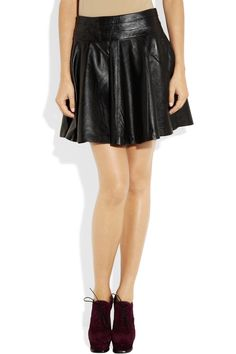 Milly Delphine Flared Leather Skirt