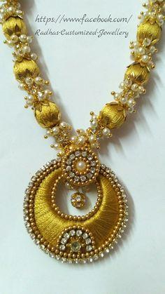 To order this WhatsApp to 8074156154 Silk Thread Bangles Design, Silk Thread Necklace, Thread Jewellery, Gold Jewellery Design, Gold Jewelry, Jewellery Diy, Jewellery Making, Jewelery, Custom Jewelry