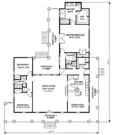 Southern House Plan First Floor - Buckfield Country-Style House Plans House Plans And More, Dream House Plans, Small House Plans, House Floor Plans, Country House Design, Country Style House Plans, Country Style Homes, Home Design, Southern Style
