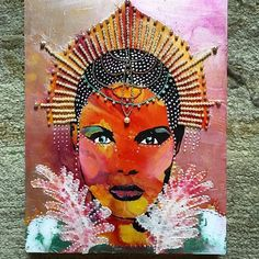 We're loving this fierce mixed media goddess art from Christa Forrest using Andrea Matus deMeng's Eve stencil from StencilGirl.