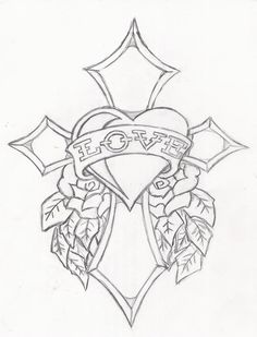 Ed hardy drawings designs sketch coloring page cross coloring page, flower coloring pages, coloring Cross Coloring Page, Heart Coloring Pages, Free Adult Coloring Pages, Flower Coloring Pages, Coloring Books, Cross Tattoo Designs, Tattoo Design Drawings, Pencil Art Drawings, Easy Drawings
