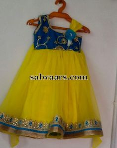 Yellow and Blue Frock - Indian Dresses