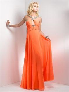 Orange/Blue Chiffon Prom Dress 2013